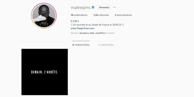 Maître Gims disparaît d'Instagram et laisse un message énigmatique !
