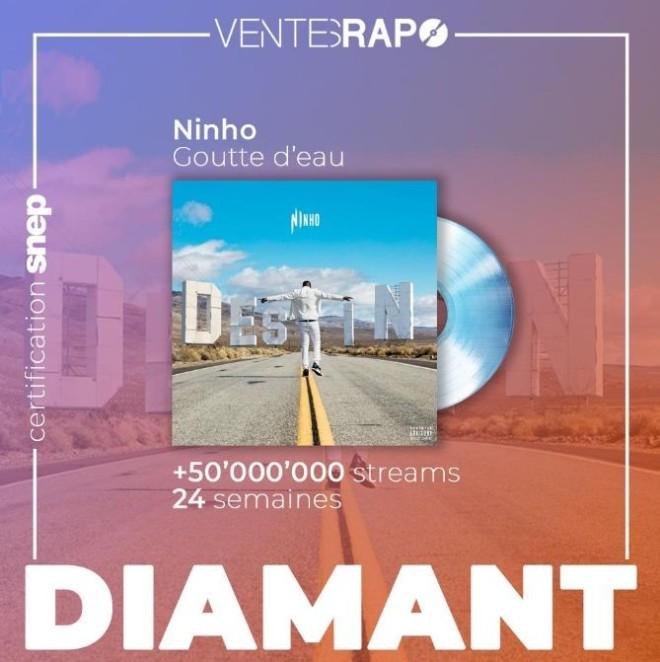 Le titre ''Goutte d'eau'' de Ninho est certifié single de diamant !