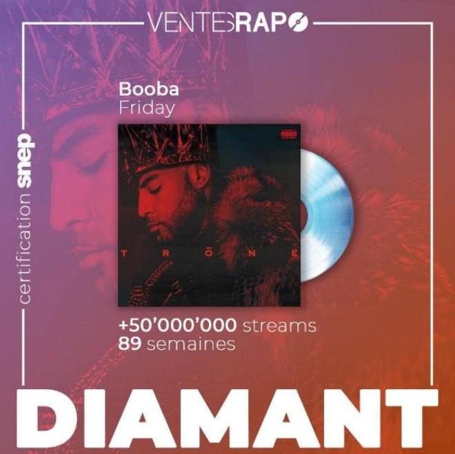 Le titre ''Friday'' de Booba est certifié single de diamant !