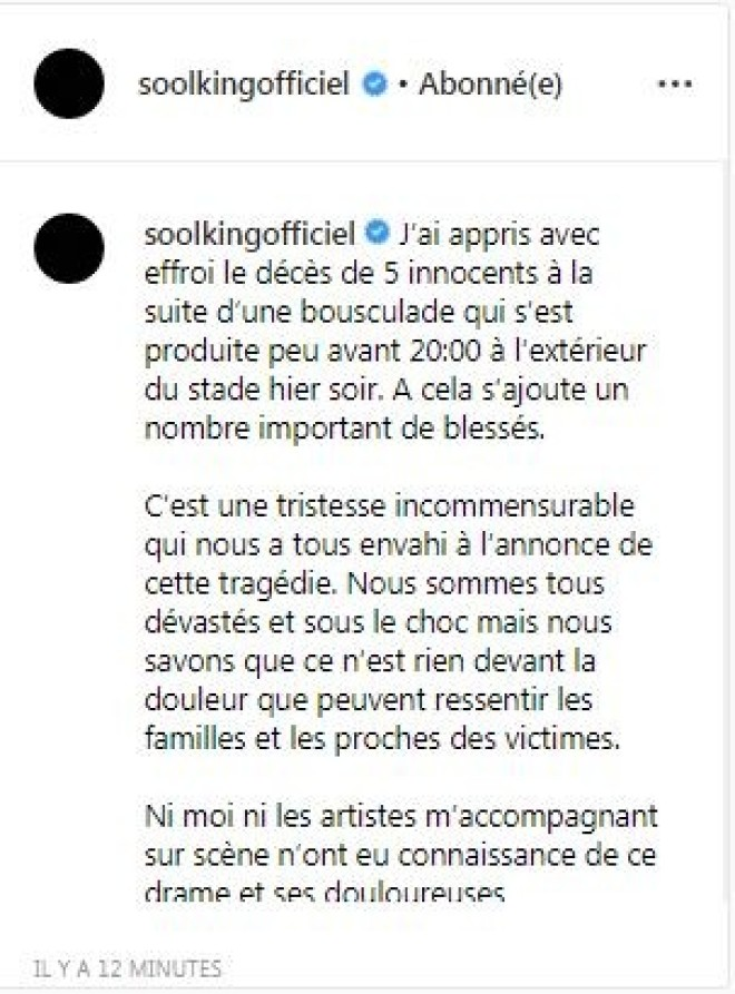 Soolking : Une bousculade a causé la mort de 5 personnes au concert du chanteur !