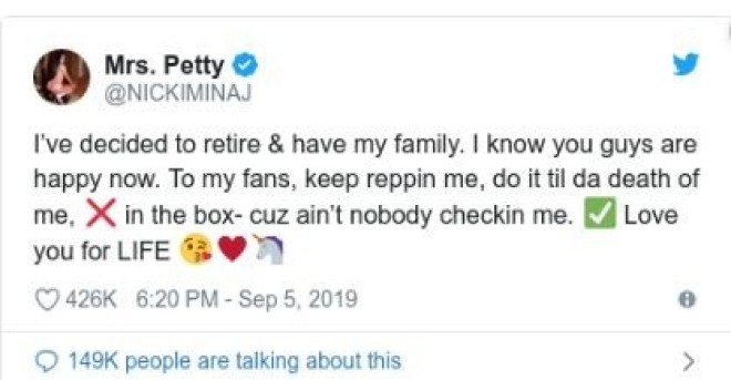 Nicki Minaj annonce sa retraite définitive dans le rap, elle dévoile les raisons !