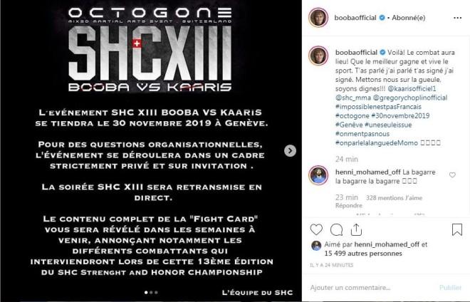 Officiel : SHC ont eu les autorisations pour faire le combat, Booba l'annonce et répond à Kaaris !