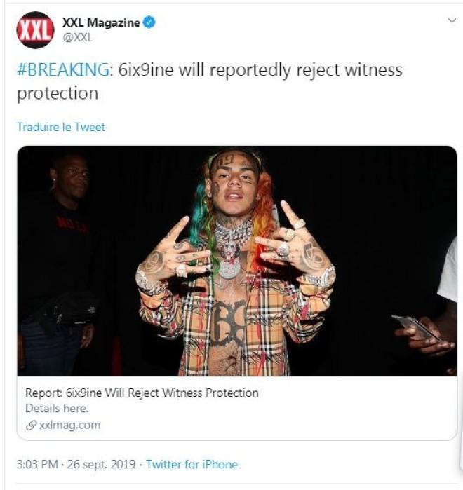 6ix9ine refuse le programme de protection des témoins quand il sort de prison !!