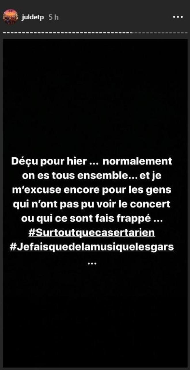Jul exprime sa déception à propos des incidents de son dernier concert à Paris !