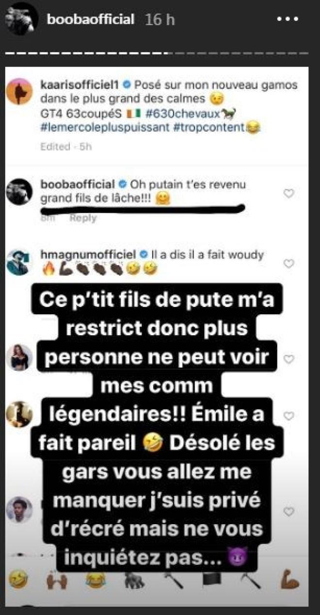 Booba se fait restreindre sur instagram par Kaaris et La Fouine dû à son harcèlement effréné envers eux !