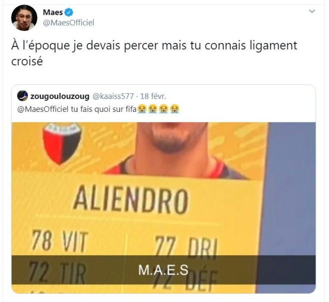 Maes a son propre joueur disponible sur FIFA ? Le rappeur réagit avec humour