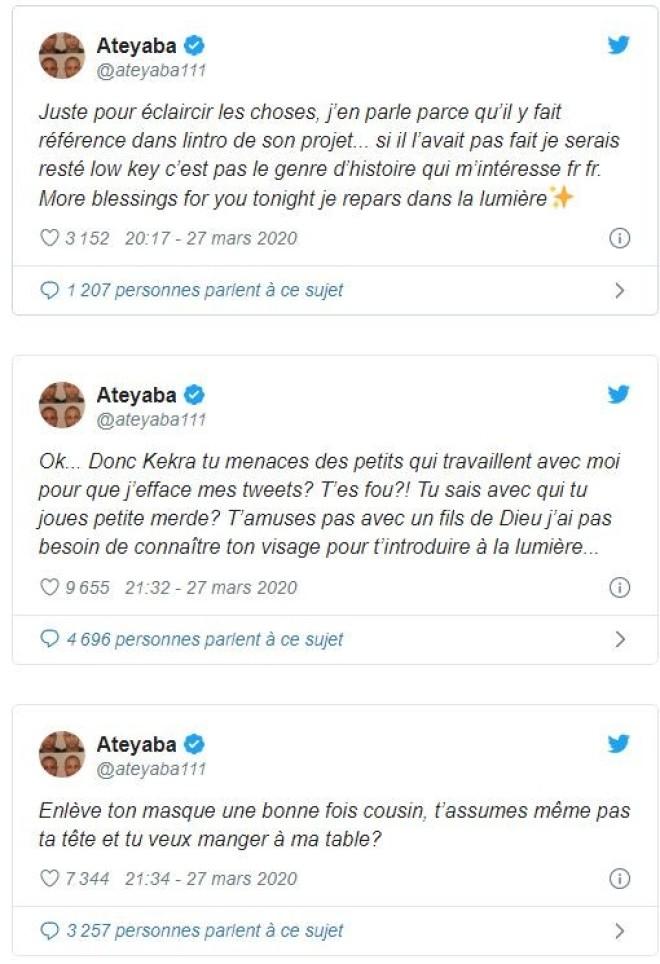 Ateyaba dévoile le vrai visage de Kekra et se moque de lui sur twitter !