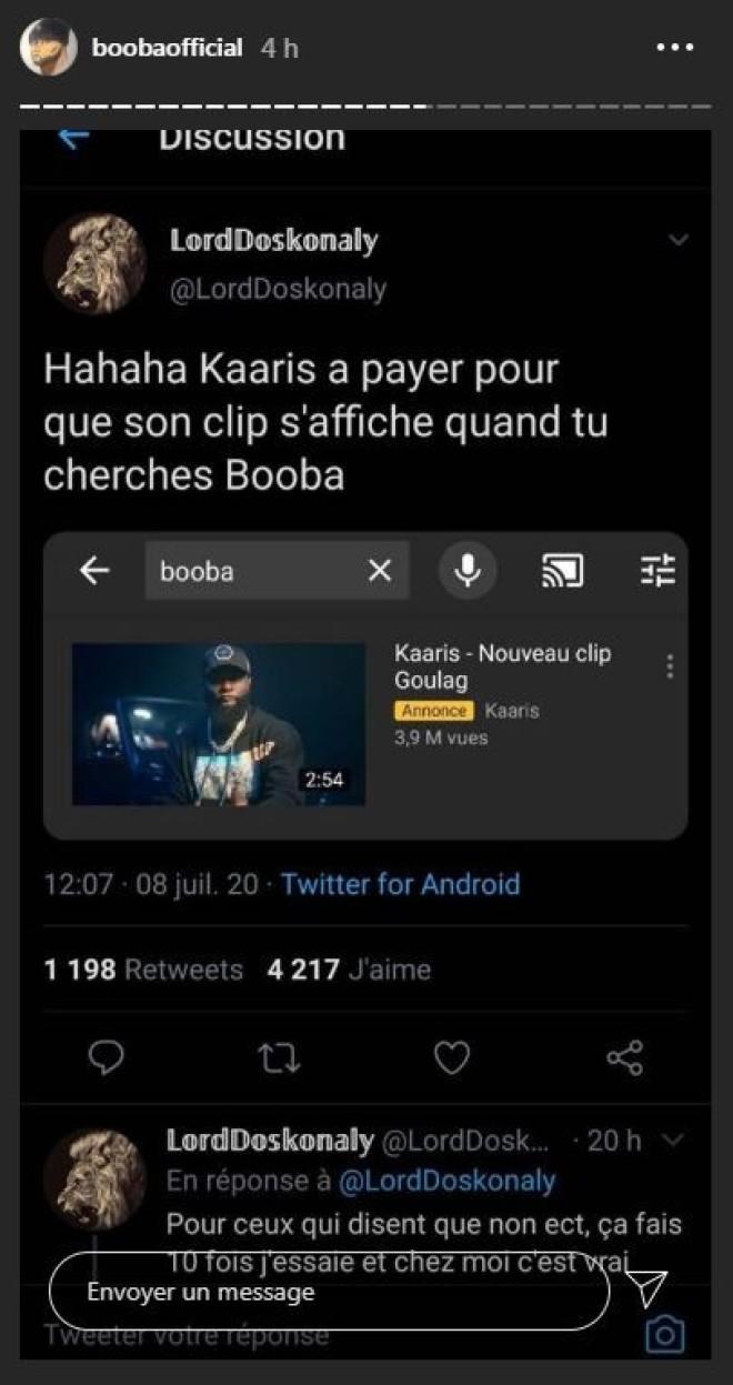 Booba se moque de Kaaris d'avoir payé pour mettre son clip dans les recherches Youtube de ''Booba''