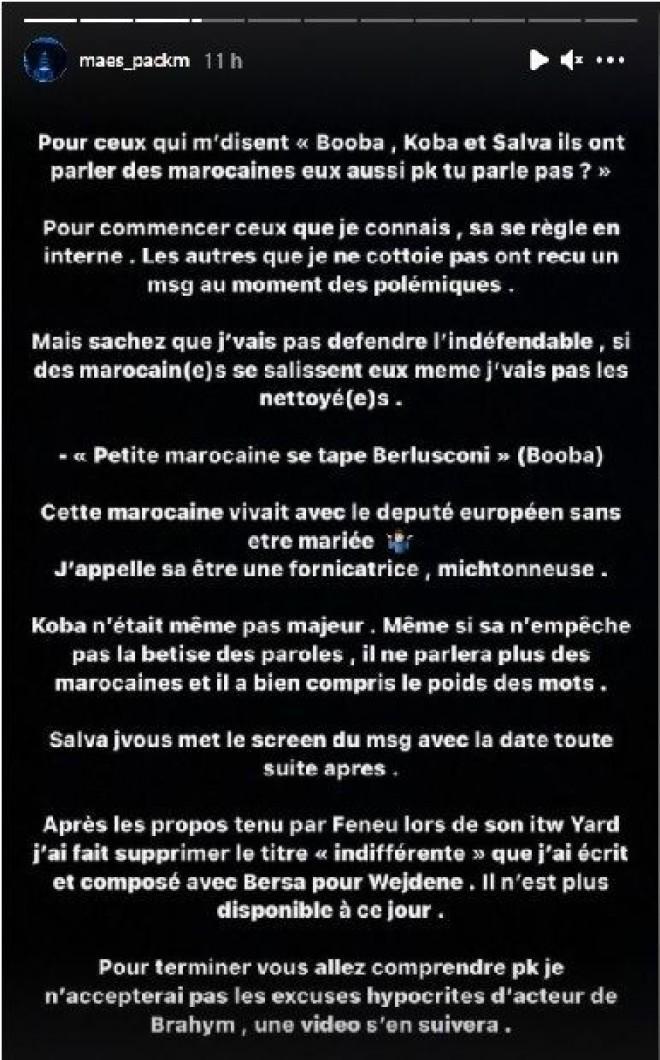 Maes parle de Booba, Koba LaD et Feuneu qui ont insulté le Maroc par le passé