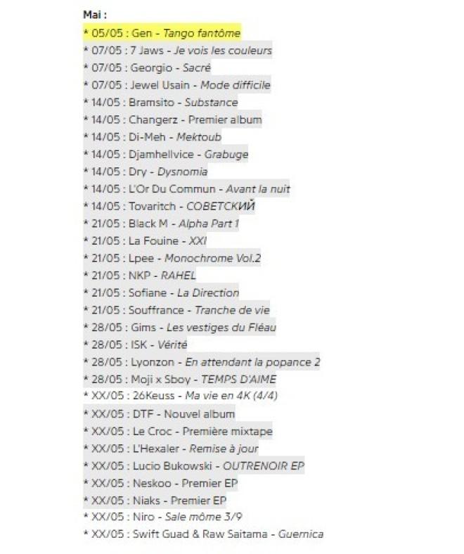 Fianso, GIMS, La Fouine ... Les sorties d'albums prévues pour ce mois de mai