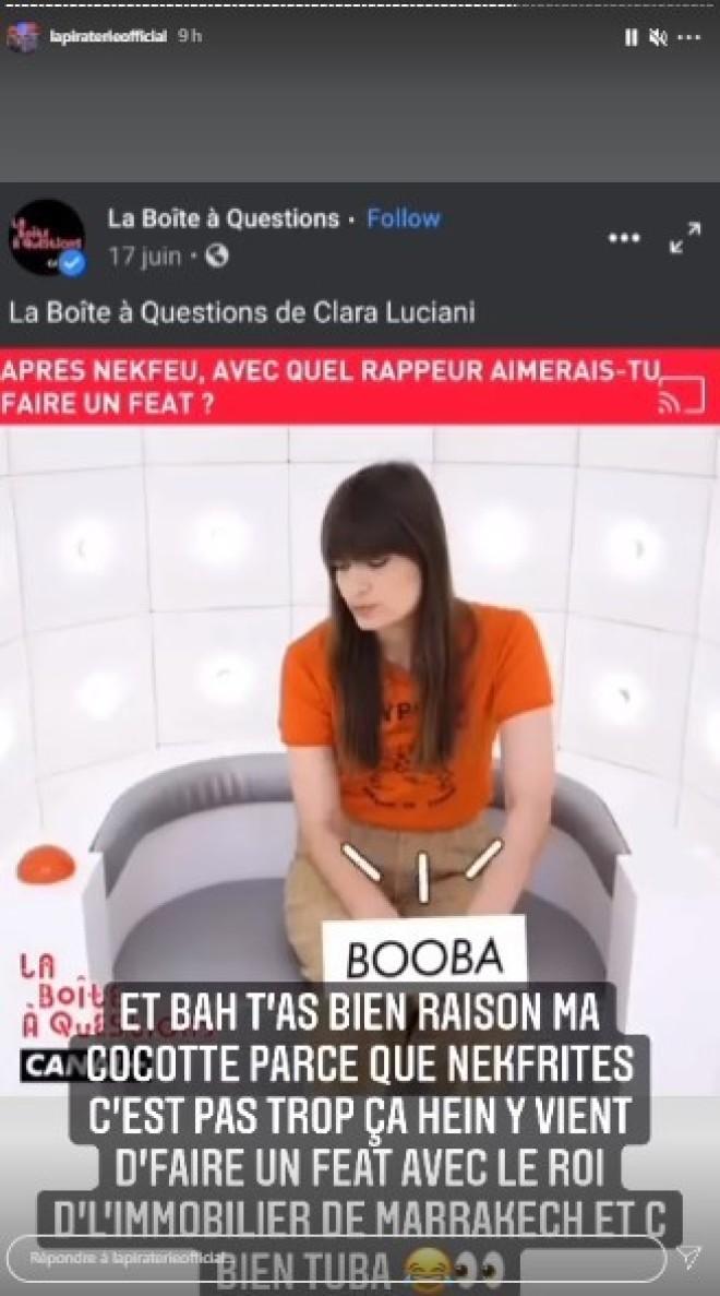 Booba validé par Clara Luciani, il réagit et en profite pour tacler Nekfeu