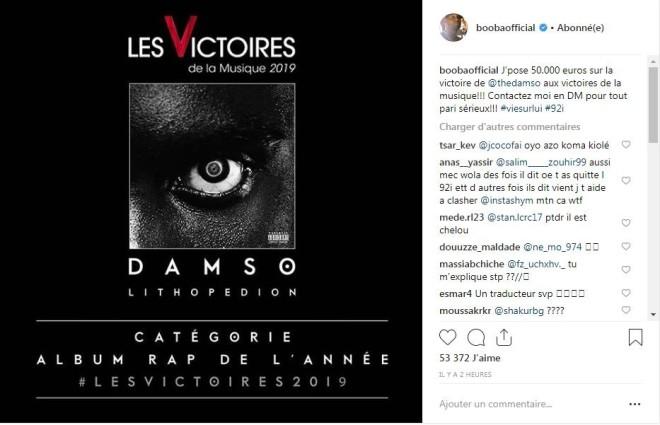 L'intrigante réaction de Booba envers Damso à propos des Victoires de la musique