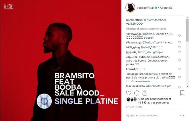 Le titre « Sale Mood » de Bramsito feat Booba est certifié single de platine !